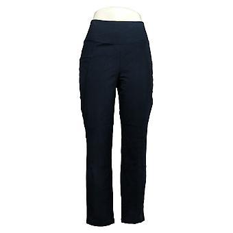 Susan Graver Women's Pants Weekend Regular Textured Cotton Blue A390452