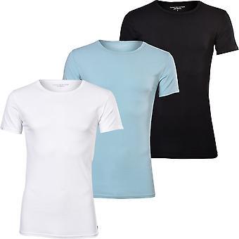 Tommy Hilfiger 3-Pack Premium Stretch Cotton Crew-Neck T-Shirts, Noir/Blanc/Bleu
