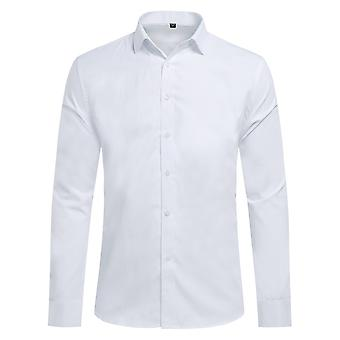 Yunyun Men's Business Lapel Solid Color Slim-fit Plain Weave Long-sleeved Shirt Without Pocket