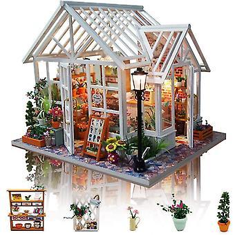 Wokex DIY Puppenhaus Miniatur Kit, 3D Hlzernes Puppenhaus Bausatz mit Mbeln und Musik und LED-Licht,