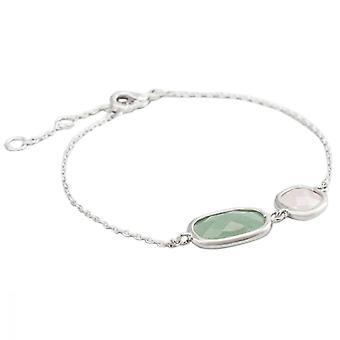 Bracciale a catena in ottone argento montato con un aventurina verde e un quarzo verde - formica;
