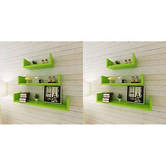 vidaXL wall shelves 6 pcs. green