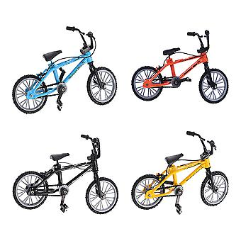 4pcs Finger Bikes Mini Finger Mountain Bikes Double-bar Finger Bicycle Toy