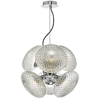Pendant Light Polished Chrome And Clear Glass, 6x G9