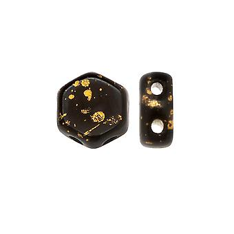 Czech Glass Honeycomb Beads, 2-Hole Hexagon 6mm, 30 Pieces, Metallic Gold Splash on Jet