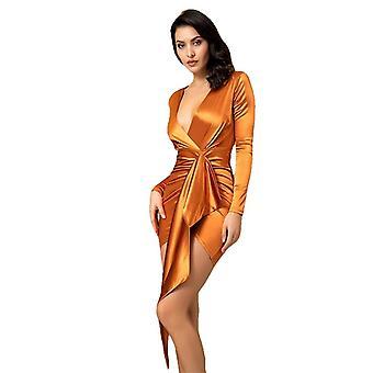 Sexig V-Neck Shirring Streamer Decoration Bodycon Party Klänning Orange För Kvinnor