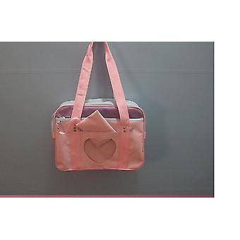 Suuri vaaleanpunainen nauha väri vastaa olkalaukku kangas matkalaukku laukku käsilaukku (36cm * 26cm * 13cm)