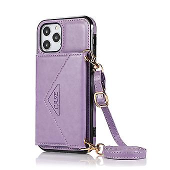 Leather wallet case for samsung a52 5g purple pns-2941