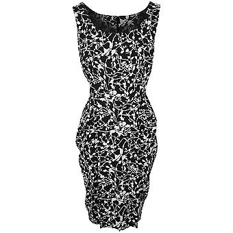 Isabel De Pedro Black Printed Sleeveless Dress With Pleat Detail