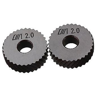 Pour 26mm Dia 2mm Pitch Diagonal Coarse Knurl Wheel Knurling Roller Pack de 2 WS145