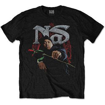 Nas - Red Rose Miesten pieni T-paita - Musta