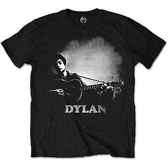 Bob Dylan - Guitarra y Logo Unisex Gran Camiseta - Negro