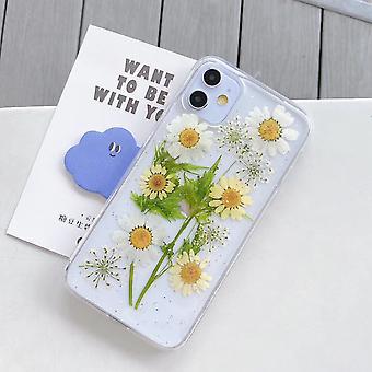 Étui de téléphone à fleurs séchées à paillettes époxy