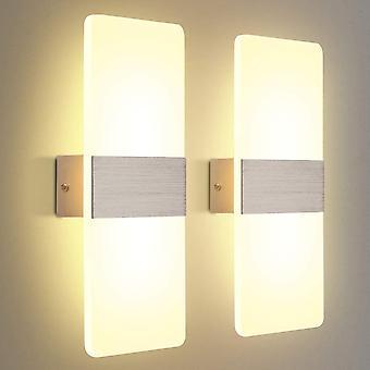 2 pack vegglampe ledet interiør 12w varm hvit 3000k ac 230v akryl vegglampe design moderne dekorasjon veggarmatur