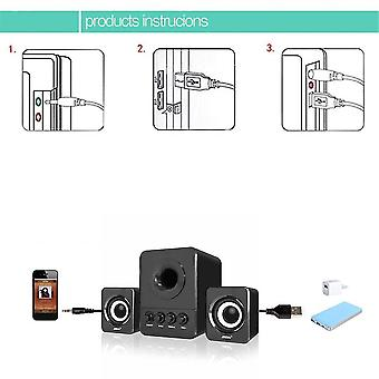 Sada Usb2.1 en 3,5 mm audio-interface stereo subwoofer audio draagbare luidspreker