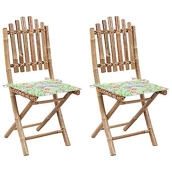 vidaXL Foldable garden chairs 2 pcs. with cushion bamboo