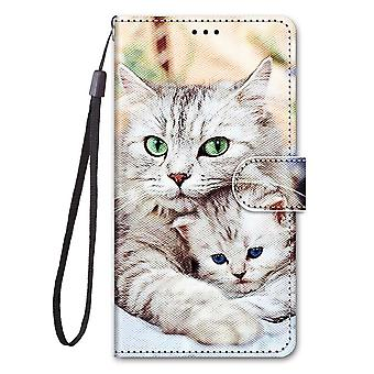 Case For Xiaomi Poco M3 Painted Leather Cover Magnetic Closure Two White Cats
