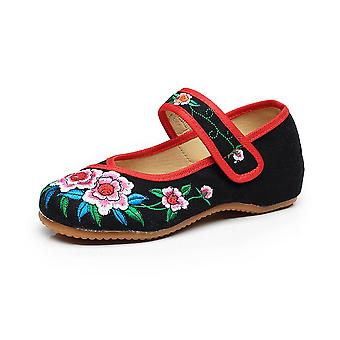 Women's Chinese Retro Ethnic Embroidery Low Heel Flat Elevator Cheongsam Dress Shoes Two Flowers
