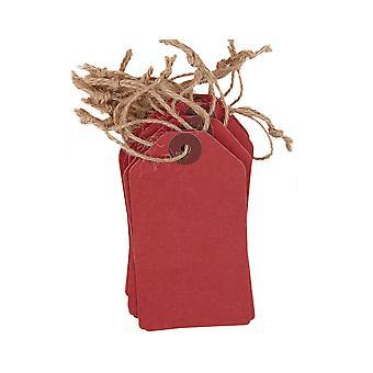 20 Grandes étiquettes cadeaux rouges Papermania - Style tag bagages
