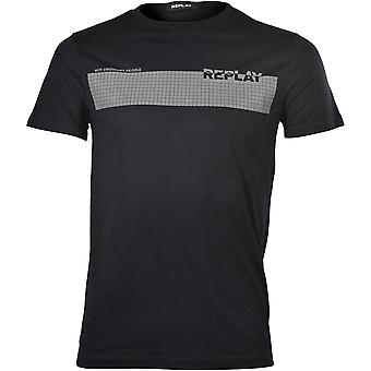 "Replay ""Not Ordinary People"" Dots Logo T-Shirt, Nero"