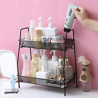 Iron Wire Makeup Shelves Home Storage Rack Kitchen Organizer Shelf Cosmetic Metal Holders & Racks