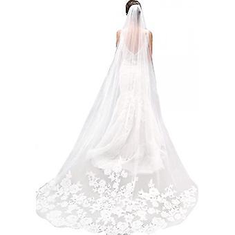 Witte ivoren kant rand kathedraal lengte bruiloft bruids sluier met kam