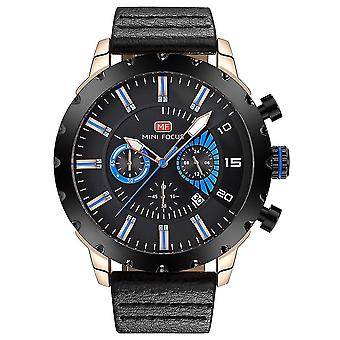 Luminous wodoodporny skórzany zegarek kwarcowy (czarne złoto)