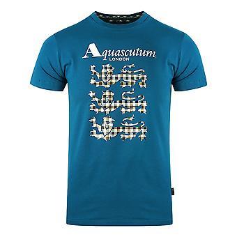 Aquascutum Triple Lion Check Logo Blå T-Shirt