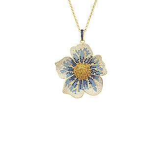 Pansy Flower Blue Necklace Gold