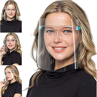 Safety Face Shields With Glasses Frames Pack Of 5 - Ultra Clear Protective Full Face Shields