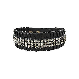 Zwart Vinyl duidelijk Rhinestone geaccentueerd armband armband