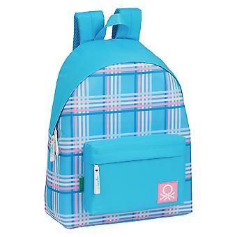 Borsa Scuola Benetton Blu Tartan Multicolore