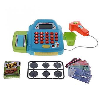 Electronic Cash Register Toy Pretend To Play Action Game Realistic Toy Blue
