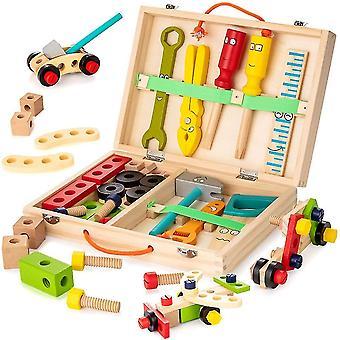 Caraele Gereedschapsset voor kinderen, houten gereedschapskist met kleurrijke bouwspeelset