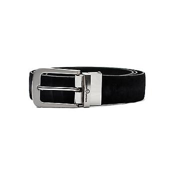 Luciano Barbera Club Leather Suede Adjustable Belt Black Stainless Steel Buckle