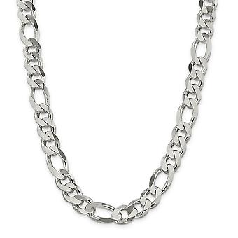 925 Sterling Silver Solid Polished Lobster Claw Closure 12.75mm Figaro Chain Anklet - 9 Inch - Lobster Claw