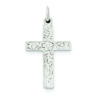 925 sterling zilver Solid gepolijst getextureerde terug niet engraveable Kruis hanger-1,8 gram