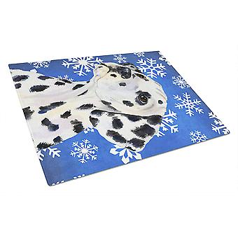 Dalmatian Winter Snowflakes Holiday Glass Cutting Board Large