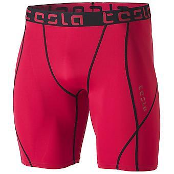TSLA Tesla MUS17 Cool Dry Baselayer Sport Compression Shorts - Red/Black