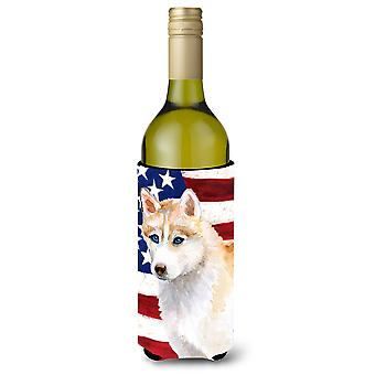 Siberian Husky Patriotic Wine Bottle Beverge Insulator Hugger