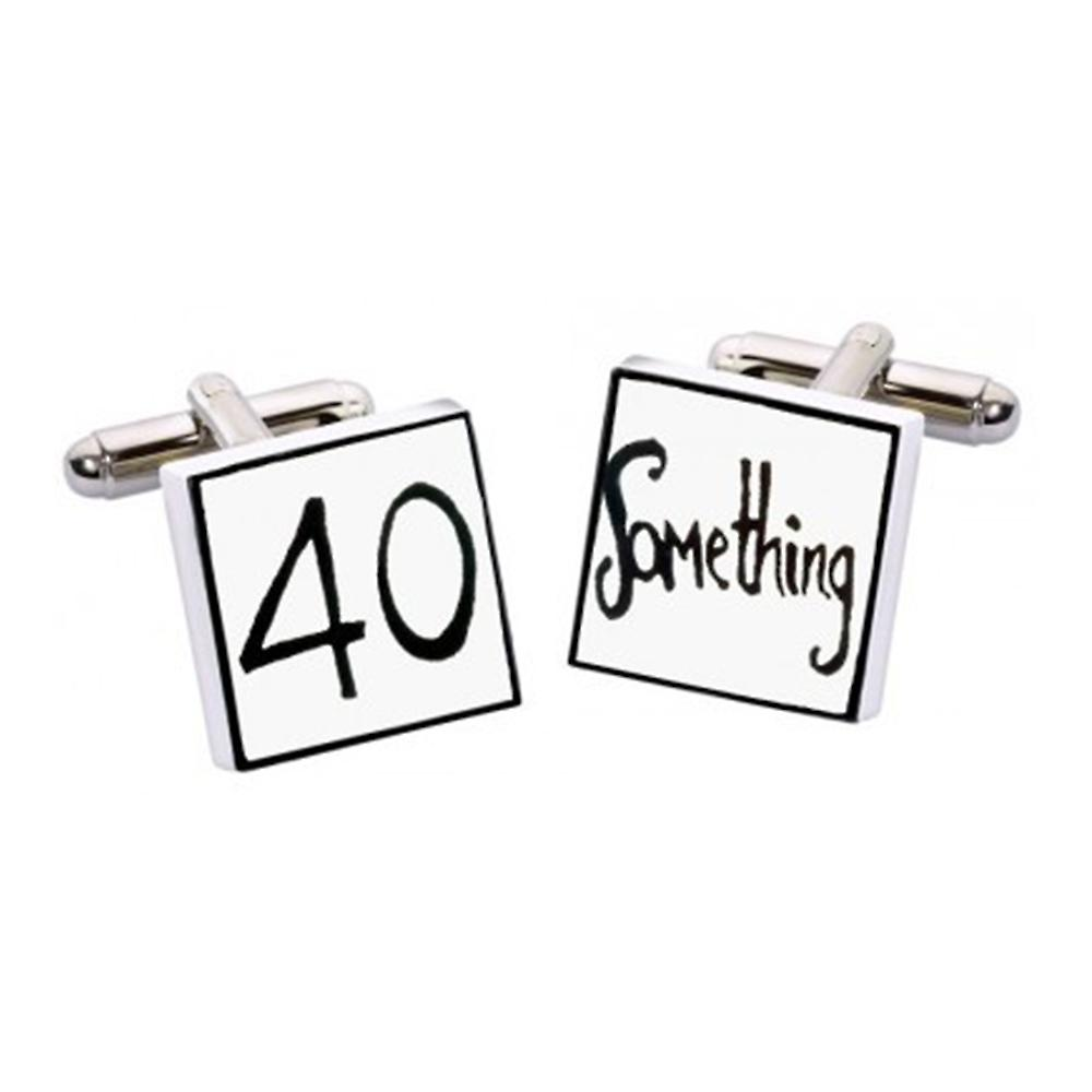 40 Something Cufflinks by Sonia Spencer, in Presentation Gift Box. Hand painted