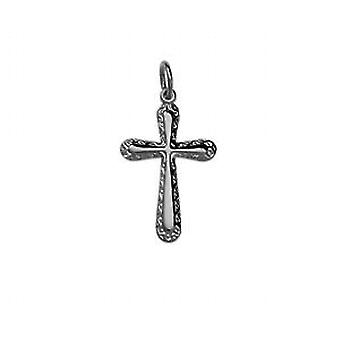 Silver 21x15mm plain with embossed border Cross