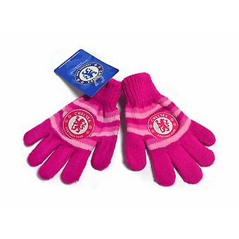 Chelsea FC Official Football Pink Knitted Gloves