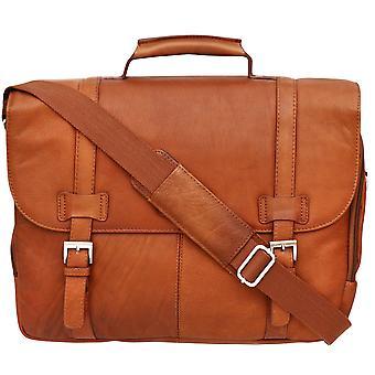 Cortez columbian piele Flapover servietă 15,6 inch laptop de afaceri umăr bag