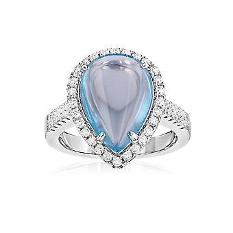 Silver Ring 925 prydd med 49 Swarovski zirconia vit och blå sten kristaller