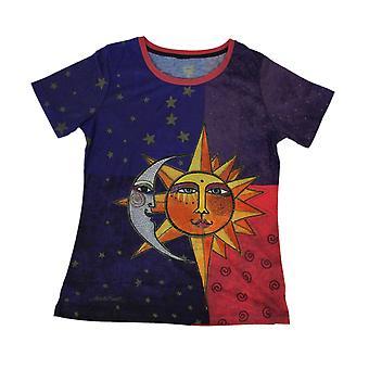 Laurel Burch Celestial Sun and Moon Short Sleeve Ladies T-Shirt