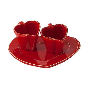 Tete A Tet Set Of Rosso Lastra Heart
