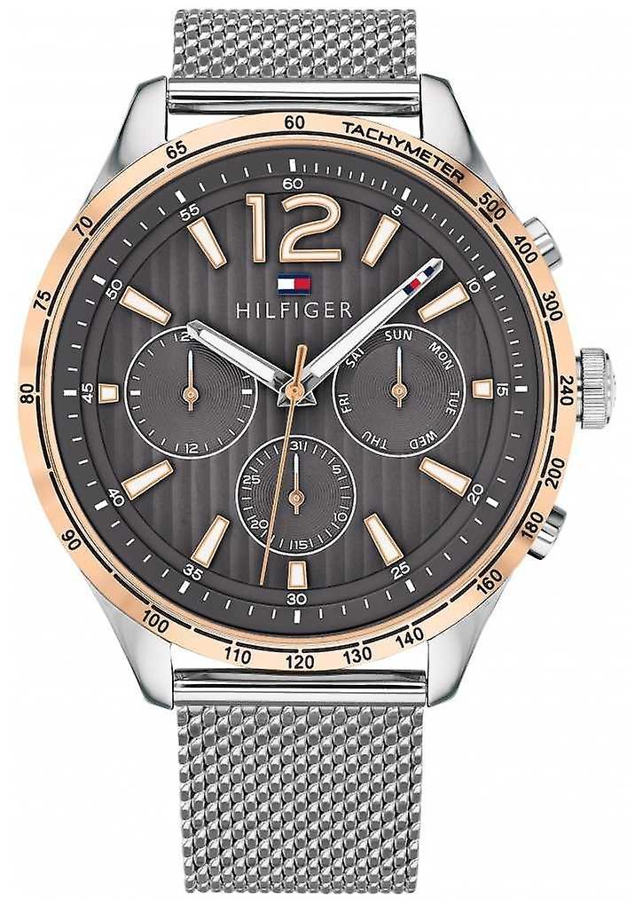 Tommy Hilfiger Men's Gavin Chronograph Silver Steel Mesh Bracelet 1791466 Watch