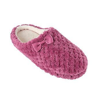 SlumberzzZ Womens gaufre effet tissu Design Mule pantoufles