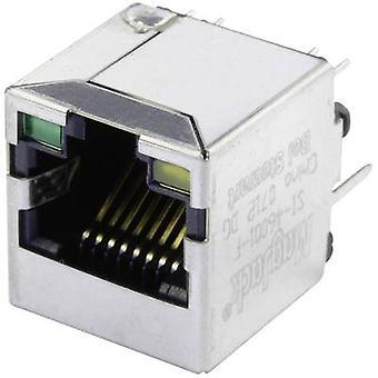 """ماجيك 10/100Base-TX 4 عمودي الإرسال مع """"المصابيح مأخذ""""، 10 الرأسي العمودي/100Base-تكساس عدد دبابيس: 8P8C ستيوارت بيل المغلفة """"النيكل"""" 46001 سي إف، والمعادن"""